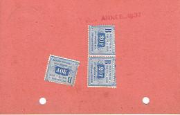 3 Timbres Récépissé Ontvangbewijs Des Mutualités De Retraite Socialistes Du Centre Sur Carte De 1937 - Belgium
