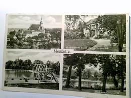Neuzelle. Seltene Mehrbild AK S/w. Nat. Pol. Erziehungsanstalt, Kurmärkische B.D. M. Haushalsschule, Badeansta - Unclassified
