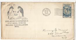 ESTADOS UNIDOS USA 1935 EXPEDICION ANTARTIDA RICHARD BYRD ANTARCTIC AL DORSO MAT RETORNO - Expediciones Antárticas