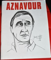 Rare Livret Sur Charles Aznavour Dessin De Bernard Buffet 1996 Avec Poster Central - Objets Dérivés