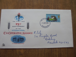 S022: FDC: INTERNATIONAL CO-OPERATIVE ALLIANCE- 1805. 75th Anniversary. 1/- Stamp. Postmark -1 APR 1970 Manchester. - FDC