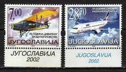 Yugoslavia 2002 The 75th Anniversary Of Yugoslav Civil Aviation. MNH - 1992-2003 Repubblica Federale Di Jugoslavia
