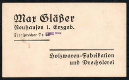 B5252 - Max Gläßer Neuhausen - Visitenkarte - Holzwaren Drechslerei - Visitenkarten
