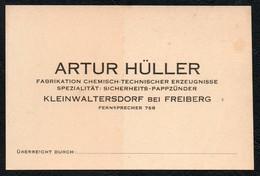 B6089 - Artur Hüller - Visitenkarte - Kleinwaltersdorf Bei Freiberg - Chemisch Technischer Erzeugnisse Pappzünder - Visitenkarten