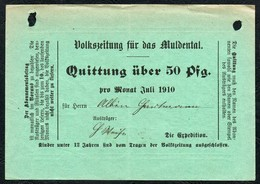 6296 - Zeitung Volkszeitung Für Das Muldental - Quittung Rechnung - 1900 – 1949