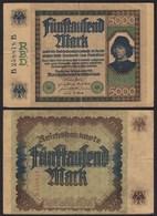 Reichsbanknote -  5000 5.000 Mark 1922 Ros. 76 - Pick 77 B 258818 B   (20412 - Deutschland
