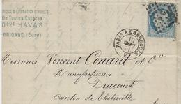 1871- Lettre De Brionne ( Eure ) Cad AMB. PARIS A CHERBOURG E  Affr. N°60 Oblit; Los. P C - Correo Ferroviario