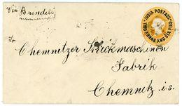 """Two + A Half Anna GSU  über Das Sea Post Office + """"via Brindisi"""" Nach Chemnitz/Deutschland - India"""