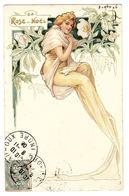 FEMME - FLEURS - La ROSE De NOËL - Style ART NOUVEAU - Donne