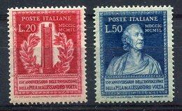 RC 10142 ITALIE N° 549 / 550 INVENTION DE LA PILE ELECTRIQUE PAR VOLTA NEUF * MH TB - 6. 1946-.. Republik