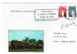 Sabine De Gandon N° 2102 Et 1962 Sur Lettre De PARIS GARE Du 29/9/81 - Signature De GANDON - Flamme TGV. - 1977-81 Sabine De Gandon