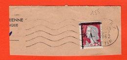 ALGÉRIE - TIMBRE SUR FRAGMENT - MARIANNE DE DECARIS 0.25 C. SURCHARGÉE EA - INDÉPENDANCE ALGÉRIENNE - 155 - Argelia (1962-...)