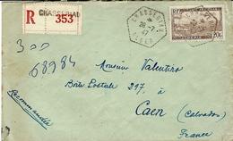 1947- Env. RECC. Affr. 20 F N°4 Ae SEUL  Oblit. Agence Postale Hexag. Pointillé De CHASSERIAU / ALGER - Zonder Classificatie
