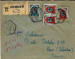 1951- Env. RECC. Affr. à 50 F   Oblit.   R A U  De PHILIPPEVILLE - B  Pour La France - Algeria (1924-1962)