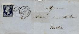 1856- Lettre De MACHECOUL (  Loire Atl. ) Cad T15 Affr. N°14 ( Bleu Noir Juillet 56 ) Bord De Feuille Oblit. P C N° 1821 - Marcofilia (sobres)