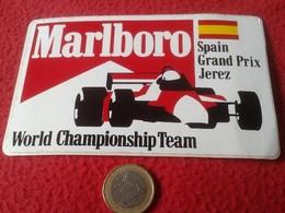 PEGATINA ADHESIVO STICKER MARLBORO WORLD CHAMPIONSHIP TEAM SPAIN GRAND PRIX JEREZ AUTOMOVILISMO FORMULA 1 F1 CARS COCHES - Pegatinas