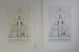 """2 Ex-libris Illustrés Italie XXème - PIERRE EDMOND LEVY Par Alberto Helios GAGLIARDO - """"LA VERITE SE TROUVE ENTRE ..."""" - Ex-libris"""