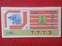 CUPÓN DE ONCE SPANISH LOTTERY LOTERIE SPAIN CIEGOS BLIND LOTERÍA ESPAÑA 1986 FAUNA FAUNE PERRO DOG CHIEN AFGANO AFGHAN - Billetes De Lotería