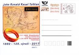 """Rep. Ceca / Cart. Postali (Pre2017/01) John Ronald Reuel Tolkien (1892-1973) Scrittore Inglese; """"Il Signore Degli Anelli - Geografia"""