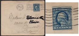 1912 / 5 C. BLUE - BLUISH PAPER IMPERF ON TOP ON COVER TO BELGIUM (ref 4572) - Brieven En Documenten