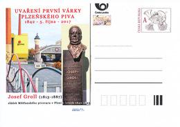 Rep. Ceca / Cart. Postali (Pre2017/46) Pilsner Urquell, 175 Anni (1842); Josef Groll (1813-1887) Birraio Bavarese - Interi Postali