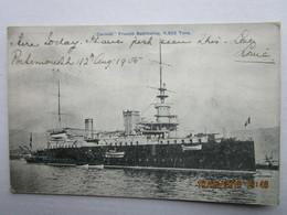 CPA  Navire De Guerre TOULON > BREST -  Cuirassé  CARNOT French Battleship 11.982 Tons En 1905  Posté Portsmouth - Krieg