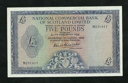 SCOTLAND, NATIONAL COMMERCIAL BANK 5 POUNDS 1966 PICK # 272 XF+ BANKNOTE - Scozia