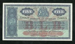 SCOTLAND, BRITISH LINEN BANK 5 POUNDS 1957, PICK #161b AU - Scozia