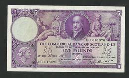Scotland 5 Pounds 1949,Commercial Bank Of Scotland Ltd £5, P-S333 Rare Banknote - Schotland