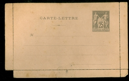 France Entiers Postaux - 25 C Semeuse - Carte-lettre - Neuf - TB     (11.444p) - Postwaardestukken