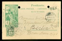 """Schweiz Suisse 1900: PK """"25 Jahre UPU"""" (5c Grün) CP """"Jubilé UPU"""" (5c Vert) Gelaufen BEX 1900 Nach Berlin (11.444q) - 1882-1906 Armoiries, Helvetia Debout & UPU"""