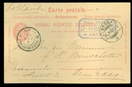 Schweiz Suisse 1901: PK  Gelaufen Von AROSA Nach 's-GRAVENHAGE (11.444r) - 1882-1906 Coat Of Arms, Standing Helvetia & UPU