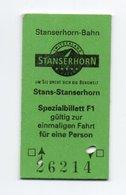 Pappfahrkarte (Schweiz) - Bergbahnen  / Stans-Stanserhorn - Bahn