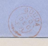 Nederland - 1868 - Takje Stempel GOUDA Op Envelop Naar Schiedam - Paesi Bassi