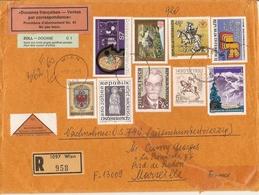 Autriche 1990 - Lettre Recommandée De Vienne à Marseille + Vignettes Douane/Zoll - Remboursement - Bel Affranchissement - 1991-00 Lettres