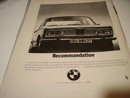 ANCIENNE PUBLICITE VOITURE RECOMMANDATION BMW 1969 - Cars