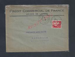 LETTRE COMMERCIAL SUR TIMBRE DE 1933 CREDIT COMMERCIAL DE FRANCE AGENCE OB LANGON : - Bank & Insurance
