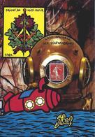 CPM Timbre Monnaie 1981 Jihel Tirage Signé 30 Ex. Numérotés Signés Sous Marin Maçonnique Scaphandrier Nice - Coins (pictures)