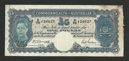 AUSTRALIA 5 POUNDS ND (1941) Armitage - McFarlane P-27b F+/ AVF - Pre-decimal Government Issues 1913-1965