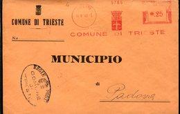 38545  Italia, Red Meter Freistempel Ema Genova 1943  Comune Di Trieste , Circuled Cover - Poststempel - Freistempel