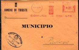 38547  Italia, Red Meter Freistempel Ema Genova 1943  Comune Di Trieste , Circuled Cover - Poststempel - Freistempel