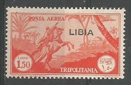 Timbre Pour La Poste Aerienne 1l 50 Orange - Libia