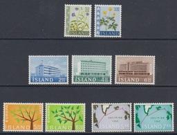 1962 ** Islande (sans Charn., MNH, Postfrish) Complete Yv 302A-305-316/22  Mi 359/67   FA 396/04  (9v) - Island