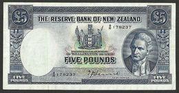 NEW ZEALAND £5 POUNDS ND (1940-55) SIGN.: HANNA P-60a VF- VF+ - New Zealand
