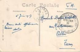 Marcophilie WW1 - Cachet Parc D'Artillerie Du 16e Corps D'Armée, Atelier De Chargement, Le Commandant, Castres 1917 - Marcophilie (Lettres)