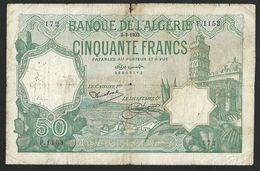 ALGERIA 50 FRANCS 1933 PICK-80 USED CONDITION - Algeria