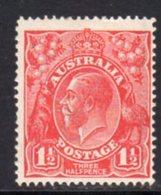 Australia 1924 GV Head 1½d Scarlet, Wmk. 5a, Hinged Mint, SG 77 - 1913-36 George V: Heads