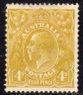 Australia 1926-30 GV Head 4d Yellow-olive, Wmk. 7, Perf. 13½x12½, Hinged Mint, SG 102 - 1913-36 George V: Heads