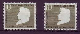 Bund 229 Wz 4a + B 100. Todestag Heinrich Heine 10 Pf Postfrisch  - BRD