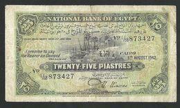 EGYPT 25 PIASTRES 1942 PICK #42a FINE+ - Egypte